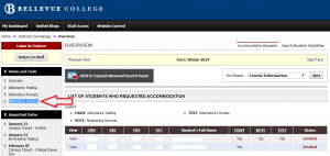 Screenshot of the MyDRC Faculty Portal with 'Notetaking Services' highlighted on the left-hand side of the screen.