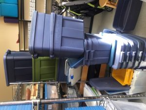 blue storage bins